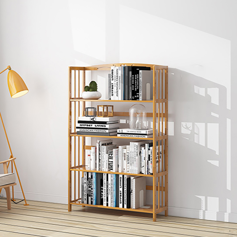 4 Layers Solid Wood Bookshelf Elegant Book Display Rack Standing Living Room Shelves Kitchen Storage Books Magazine Organizer