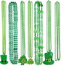 Jewellery Green Plating Plastic Necklace Kids Adult Irish St Patrick's Day Jewelry For Women St Patrick's Day Decor Supplies(China)