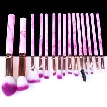 5/10/15pcs Marble Makeup Brushes Tool Natural Brush Set Kit Professional Powder Small High Quality Highlighter Lip Eyeshadow