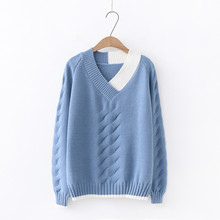 Autumn Winter New Fresh Loose Wild Color V-neck Knit Pullover Sweater Women Hit Patchwork Twist Knitted  Jumper Tops
