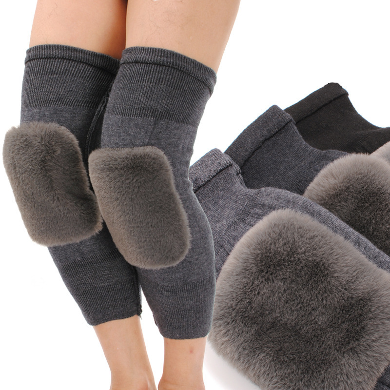 Knee Pad Keep Warm Thickening Rex Rabbit Imitation Wool Cashmere Windbreak Cold-proof Knitted Stretch Man And Women Unisex