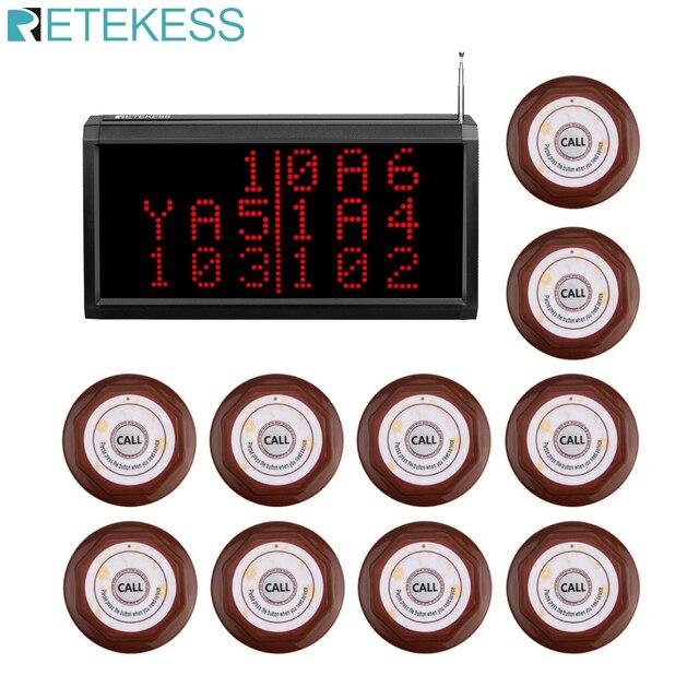 Retekess çağrı müşteri hizmetleri kablosuz çağrı sistemi sesli rapor alıcı konak + 10 adet çağrı düğmesi restoran çağrı cihazı