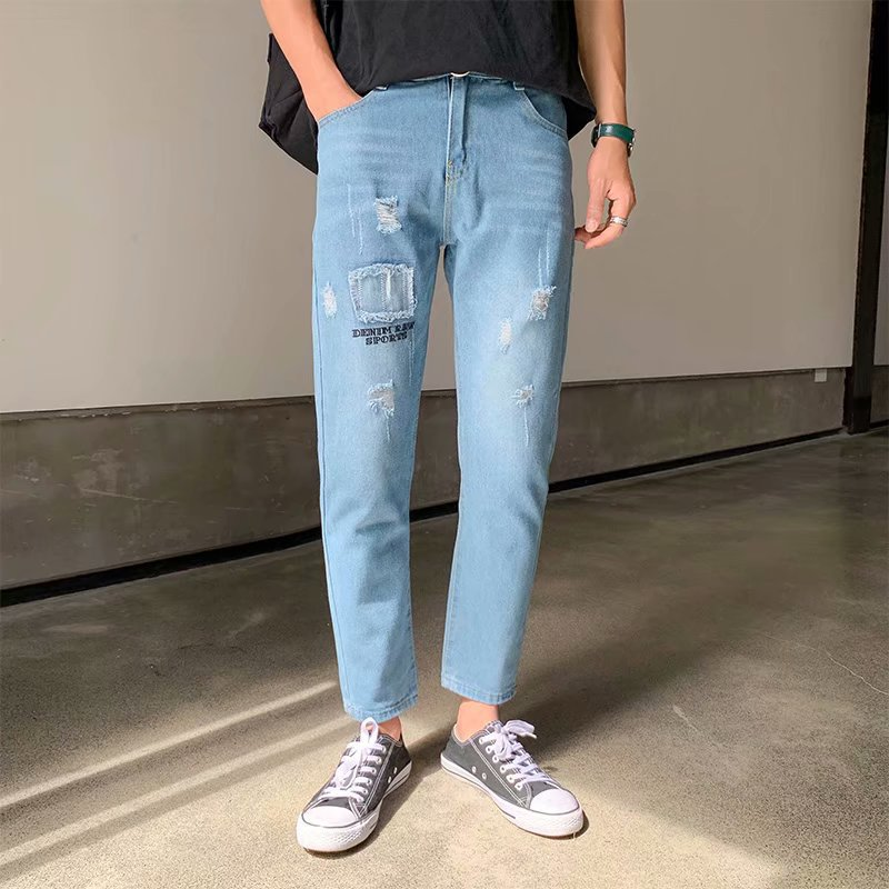 Wholesale 2020 Spring Autumn Men's Jeans Hombre Self-cultivation Loose Straight Casual Teenager Men Ankle Length Harem Pants Men