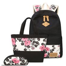 3PCS Floral Backpack for Teen Girls Laptop Daypack School Bags Canvas Bookbags Pencil Case Set