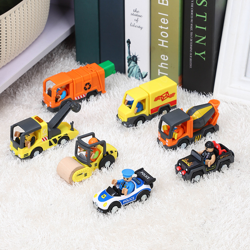 Plastic Inertia Police Car Engineering Car Trailer With Villain City Cleaning Car Compatible With Brand And Brio Train Track Toy