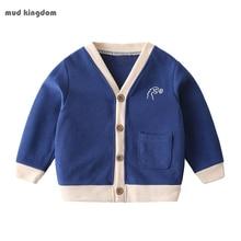 Mudkingdom Boys Cardigan Autumn Winter Fashion Dinosaur Embroidery Pattern Long Sleeve Warm Children Clothing Casual Kids Tops