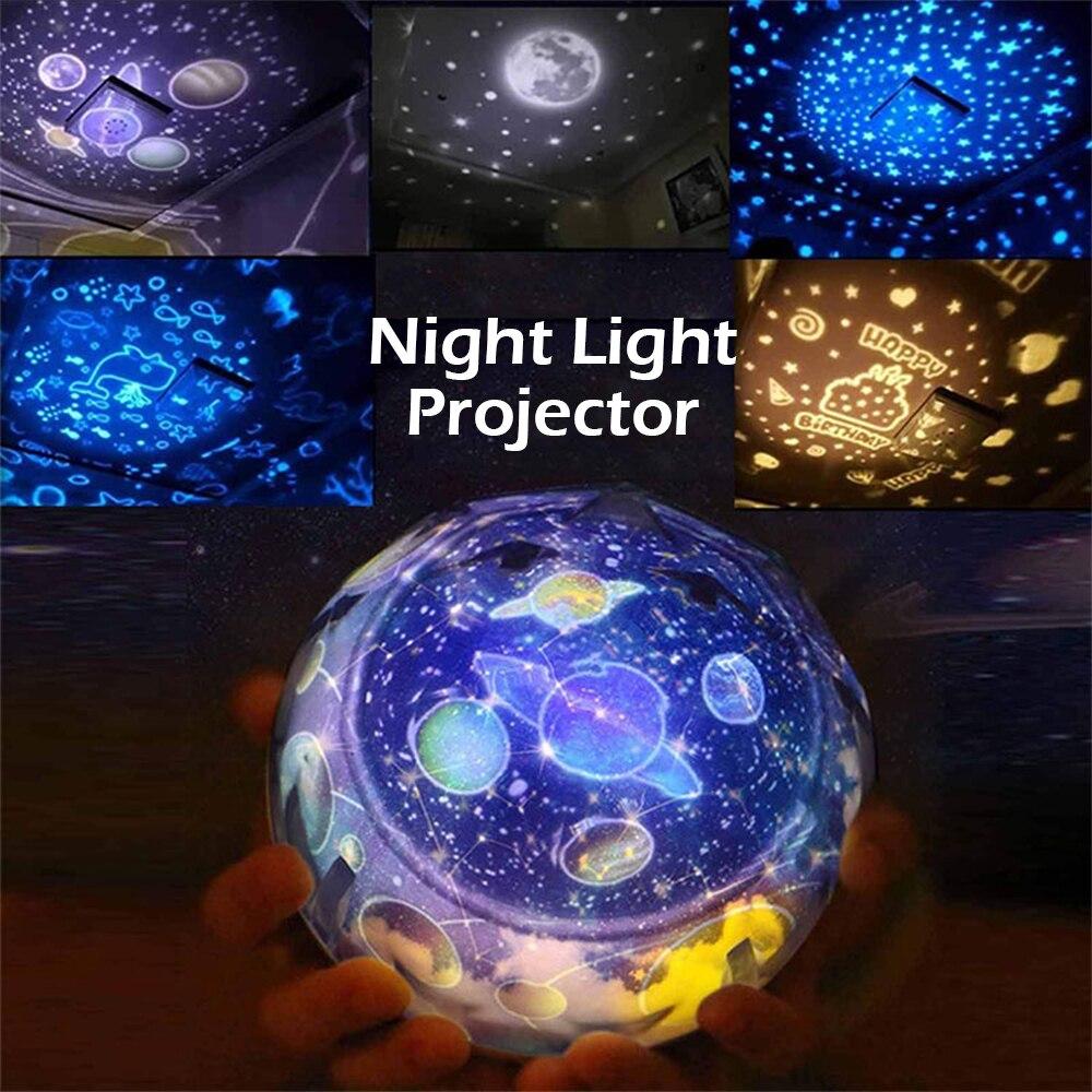 Starry Sky Night Light Planet Magic Projector Earth Universe LED Lamp Projector Rotating Lamp Night Light Moon Sea World Decor
