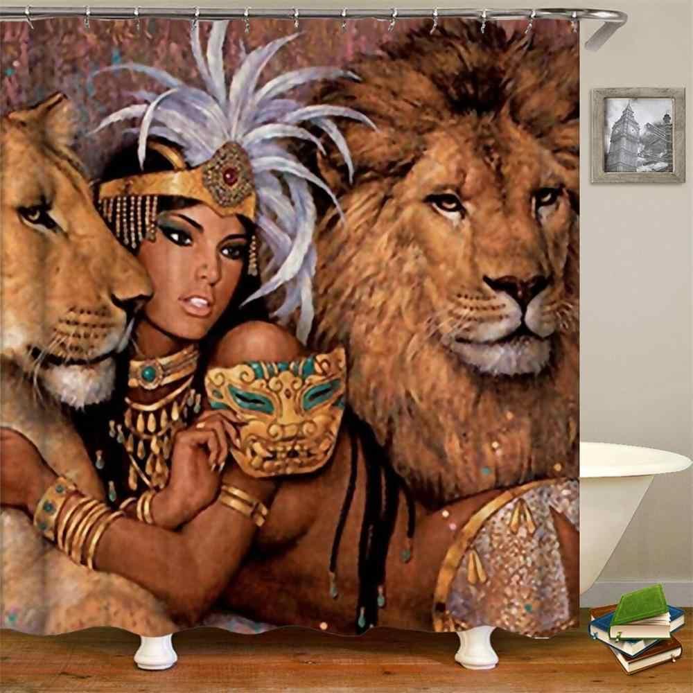 المرأة الأفريقية دش الستار المرأة الأفريقية الزخرفية النساء السود مقاوم للماء البوليستر النسيج ستارة الحمام 180x200 سم