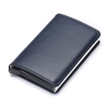 BISI GORO Card Holder for Men Women Automatic Pop Up Card Case RFID Aluminium Alloy Credit Card Holder PU Leather Card Wallet cheap Genuine Leather Unisex Solid 7cminch 0 1kgkg X-12 10cminch No Zipper Business