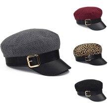 Модная черная шапка Зимняя кепка шерстяная шапка британский стиль теплая уличная плоская кепка регулируемая восьмиугольная кепка женские шапки