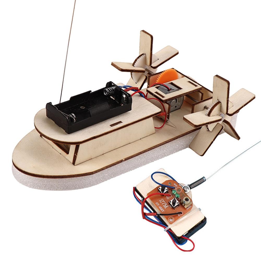 Students DIY Paddle Wheel Ship Assembling Model Remote Control Educational Toys Material Kits Kids Educational Toys