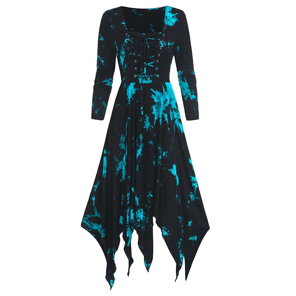vestido de mujer Women Dress Plus Size Tie Dye Print Long Sleeve Lace up Handkerchi Gothic