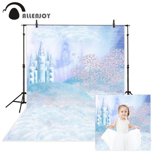 Allenjoy fotografia fundo fantástico castelo árvore gramado nuvens conto de fadas estilo pano de fundo foto estúdio câmera
