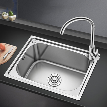 304 Stainless Steel Kitchen Double Sink Thickness Silver Sinks with Faucet Strainer Undermount or Above Counter
