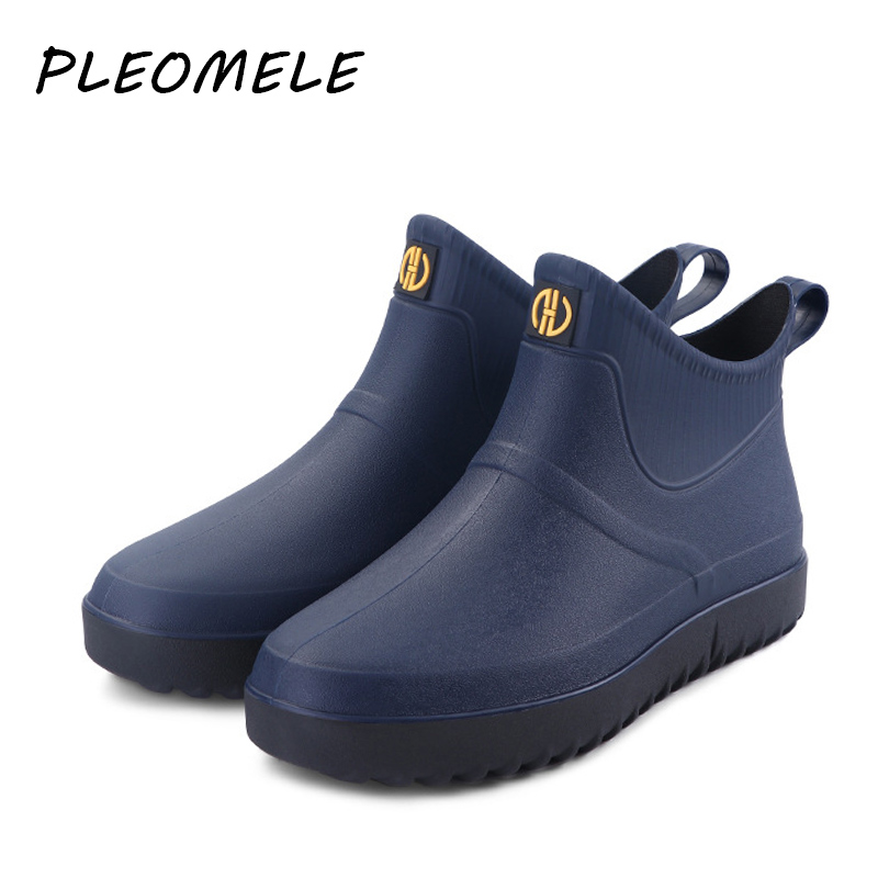 Hot Shoes Men Boots Fashion Rainboots Slip Water Shoes Short Rubber Rain Boots Men Bot Garden Fishing Boots Waterproof For Men