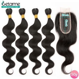 50 Grams/Piece Brazilian Body Wave Bundles With Closure Non-Remy 2x4 Tissage Bresiliens Avec 100% Human Hair With Closure(China)