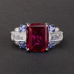 Image 3 - PANSYSEN 100% Bạc 925 Tạo Ra Moissanite Sapphire Đá Quý Cho Nữ, Nhẫn Nữ Cưới Đính Đá Trang Sức Viễn Chí Bảo