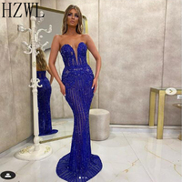 Royal Blue Mermaid Sequins Lace Formal Evening Dresses Sheer Neck Zipper Back Floor Length Prom Gown Party Dress Cocktail Dresse