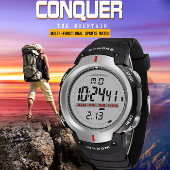 SYNOKE Military Men Wristwatch Outdoor Sports LED Electronic Watch Fashion Digital Wrist Watches Alarm Clock Waterproof Watch digital watches men waterproof sports wrist watch electronic running fitness led chronograph watch outdoor for men relogio meski