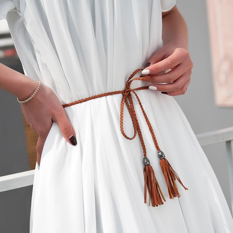 Women Dress Strap Thin PU Leather Belt Tassel Fringe Chain Belts For Women Red Brown Black White Yellow Waist Belts