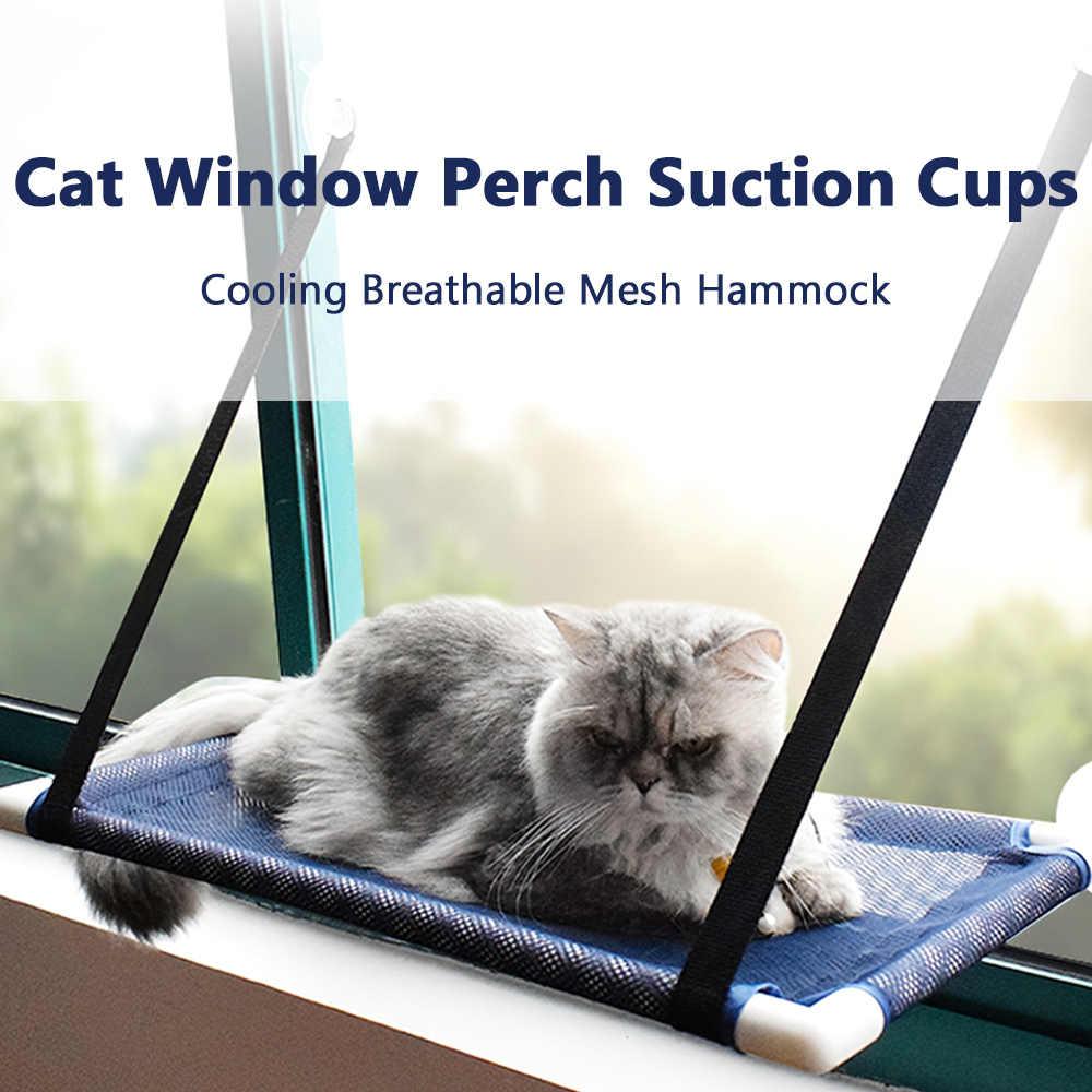 Hamaca para tomar el sol montada en la ventana negro cama colgante para mascotas con ventosa para perca