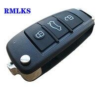 Sustalı anahtar katlanır çevirme uzaktan araba anahtarı kabuk durumda 3 düğme vaka AUDI A2 A3 A4 A6 A6L A8 TT bıçak olmadan