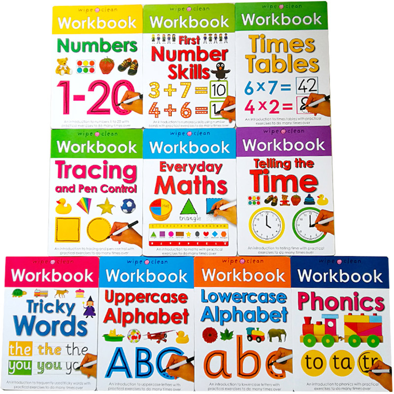 Children Wipe Clean Workbook With Pens/Reusable English Book Writing Skills Phonics Number Words Maths Times Tables Preschool