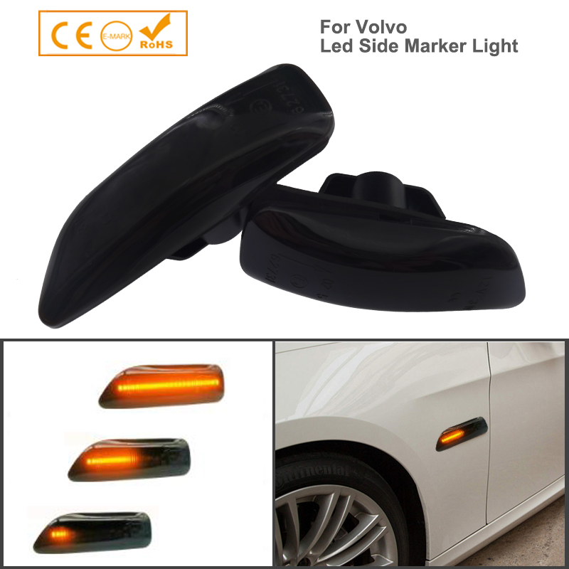 2x Dynamic Smoked LED Side Marker Light Repeaters Indicators For Volvo Xc70 Xc90 S60 V70 S80 2001-2009