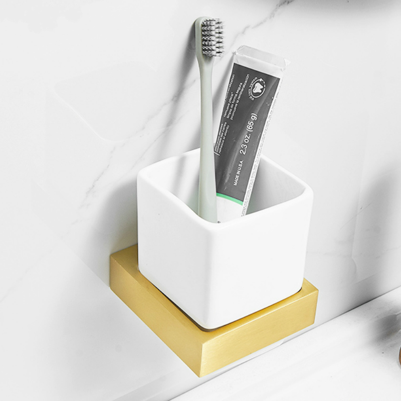 Brushed Gold Bathroom Hardware Accessories Toothbrush Holder Wall Mounted Ceramic White Cup toothbrush cup holder image