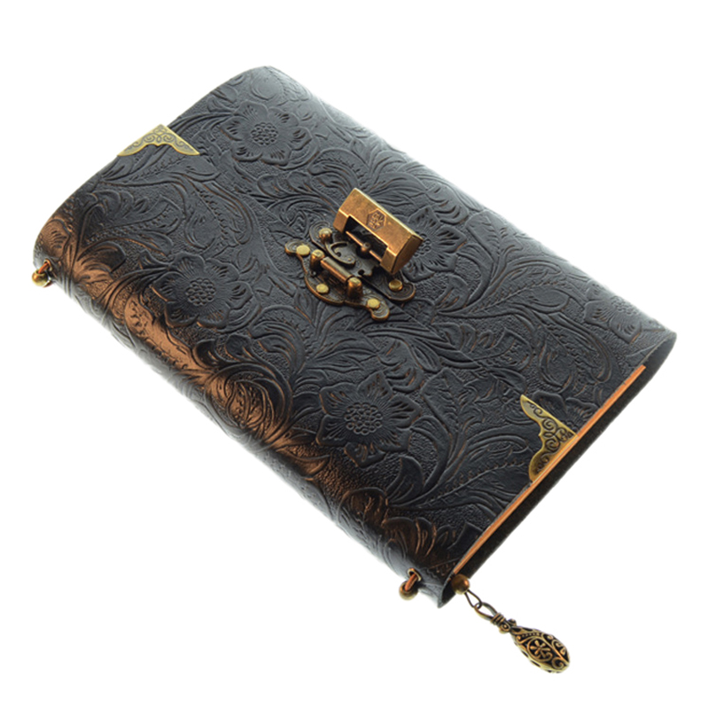 Embossed Pattern Soft Leather Travel Notebook with Lock and Key Diary Notepad Kraft Paper for Business Sketching Writing