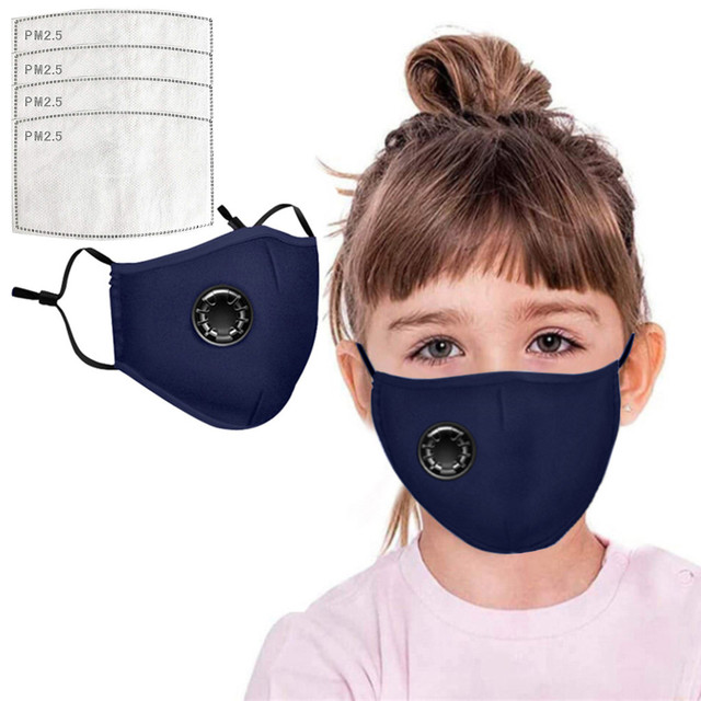 4 PCS Filter Fashion Kids Mask Mouth Respirator Washable Reusable Child Masks Cotton Unisex Mouth Muffle Black Anti Flu Mask 1