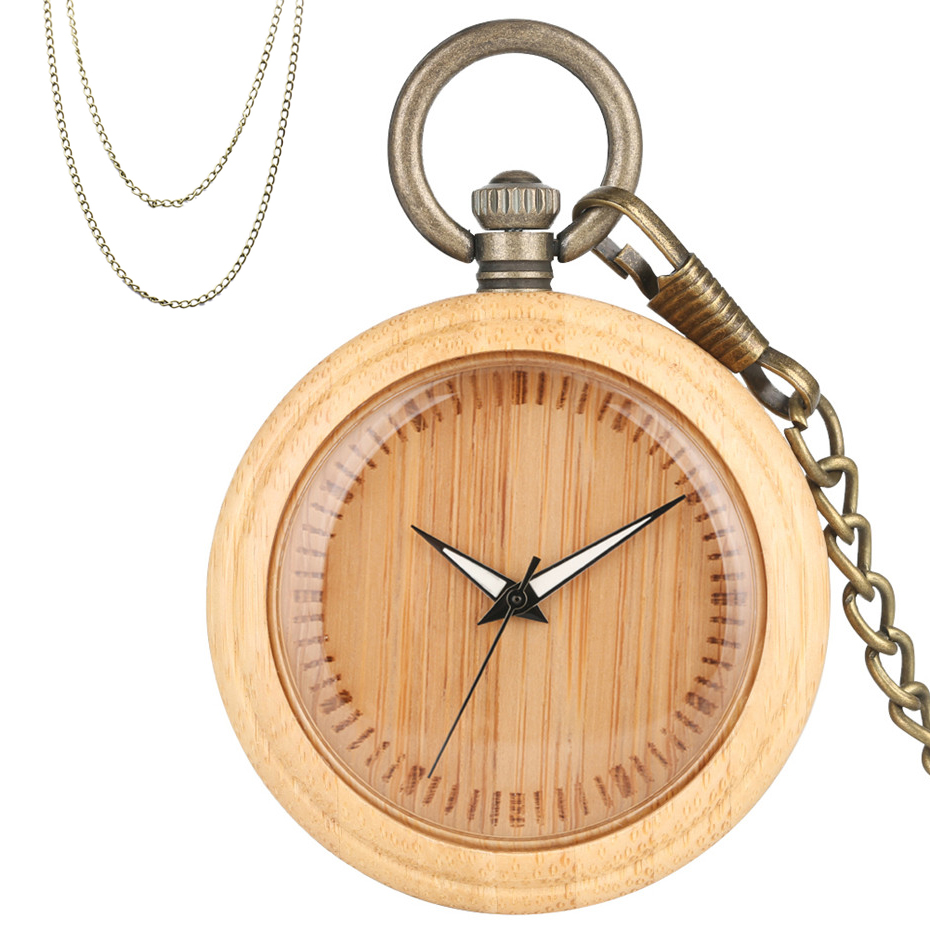 Bamboo Wood Quartz Pocket Watch Bronze Steampunk Hanging Chain Exquisite New Fashion Pendant Clock With Necklace Chain Reloj
