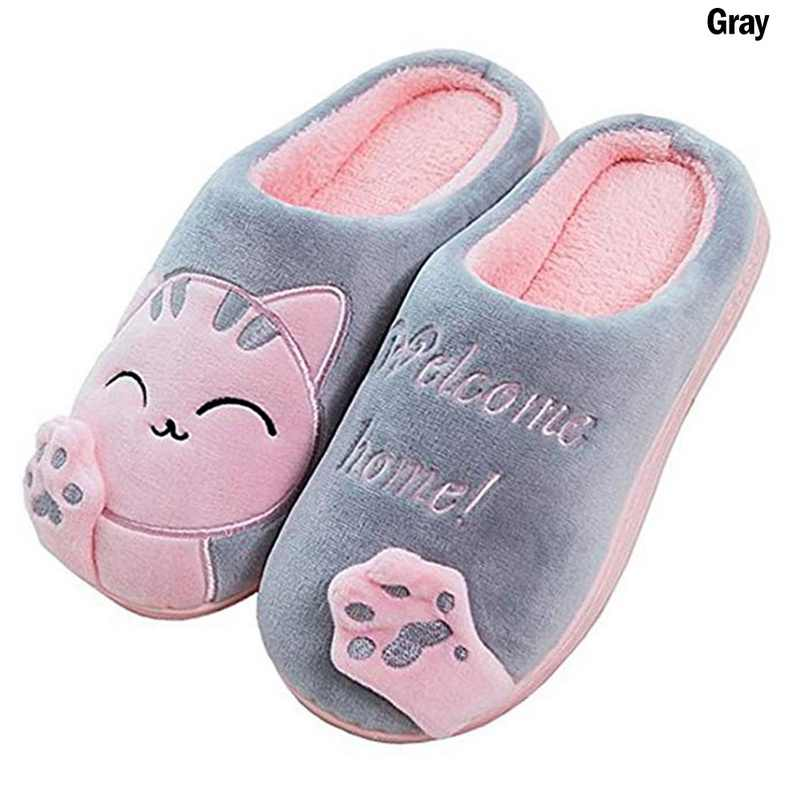 2019 Lovers Couples Floor New Women Winter Home Slippers Cartoon Cat Non-slip Soft Indoor Bedroom Winter Warm House Slippers