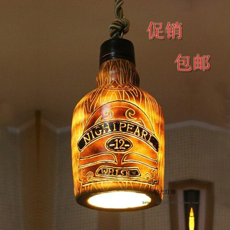 Vintage Wine Bottle Pendant Light Suspension Luminaire Bar Entranceway Balcony Dia 21*h37cm Lustre Pendente