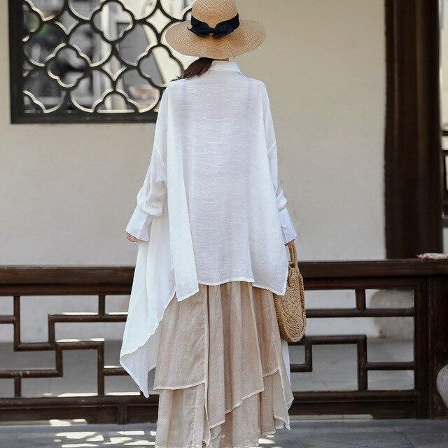 Women Plus Size White Blouse Ladies Irregular Length Oversized Shirt Tops Female 2020 Spring Autumn Big Size Tops 5