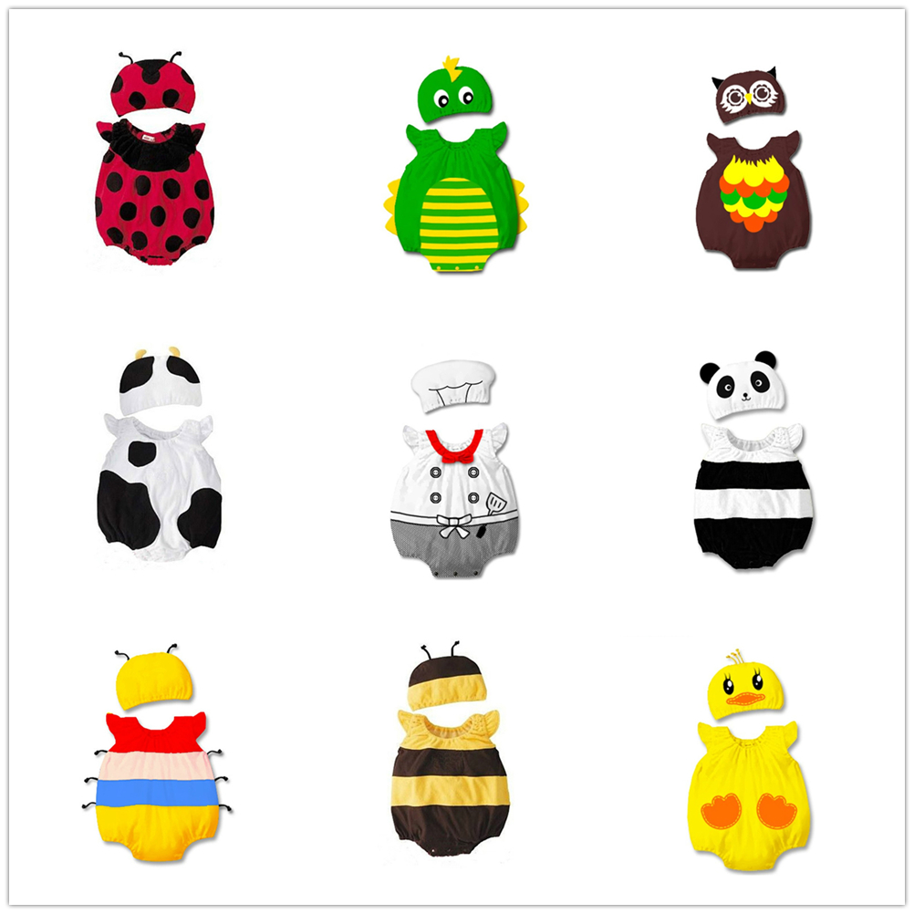 Multi Stlyes Newborn Baby Rompers With Hat Toddler Animals Cosplay Onesie Infant Boys Girls Cartoon Costume Photography Clothes