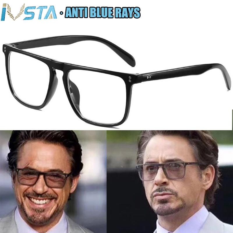 IVSTA Oversized Glasses Men anti Blue Rays Glasses Computer Gaming Prescription Lenses for Sight Big Large Tony Stark Vintage