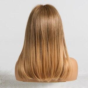 Image 3 - ALAN EATON Synthetic MediumตรงผมWigsกับBangsสำหรับผู้หญิงสีดำแอฟริกันอเมริกันสีน้ำตาลสีบลอนด์คอสเพลย์Bob Wigs