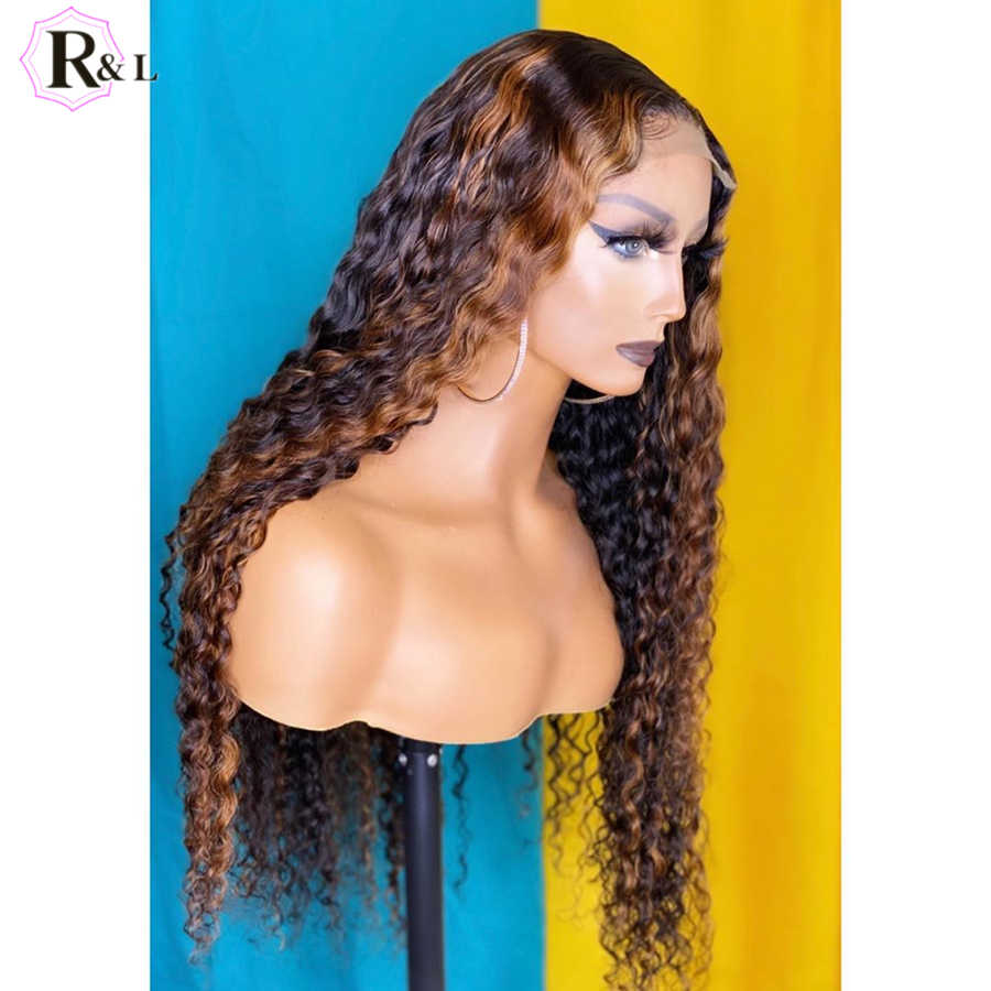 RULINDA pelucas de cabello humano rizadas con encaje Frontal 250% densidad Ombre color brasileño Remy cabello 360 Lace Frontal pelucas con minimechones