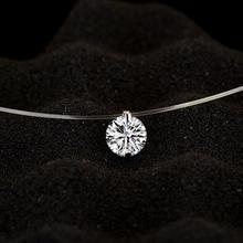 Модный Блестящий Кристалл Ожерелье Циркон Кулон прозрачная леска невидимое ожерелье для женщин ювелирные изделия Ключицы Цепи чокер