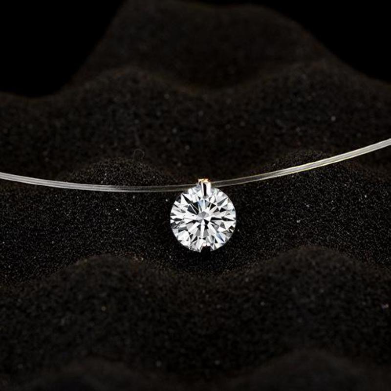 Модный Блестящий Кристалл ожерелье циркония, прозрачная рыболовная леска, невидимое женское ожерелье, цепочка для ключицы, чокер