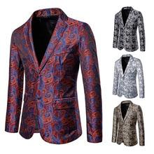 Men's Bright Cashew Flower Dark Pattern Two-button Men's Turn-collar Suit Blazer Jacket Suit Men Men Suit Jacket Flower Blazer