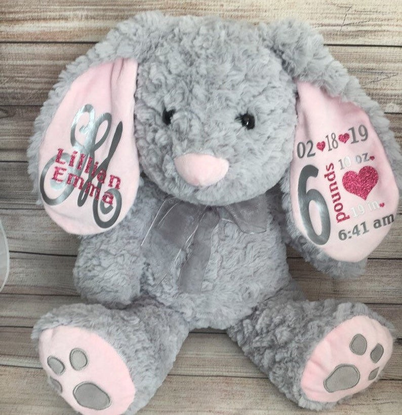 Personalized Baby Stuffed Animals, Customize Baby Girls Birth Stat Bunny Personalized Plush Birth Announcement Stuffed Animal Monogrammed Bunny Newborn Gift Buy At The Price Of 1 98 In Aliexpress Com Imall Com