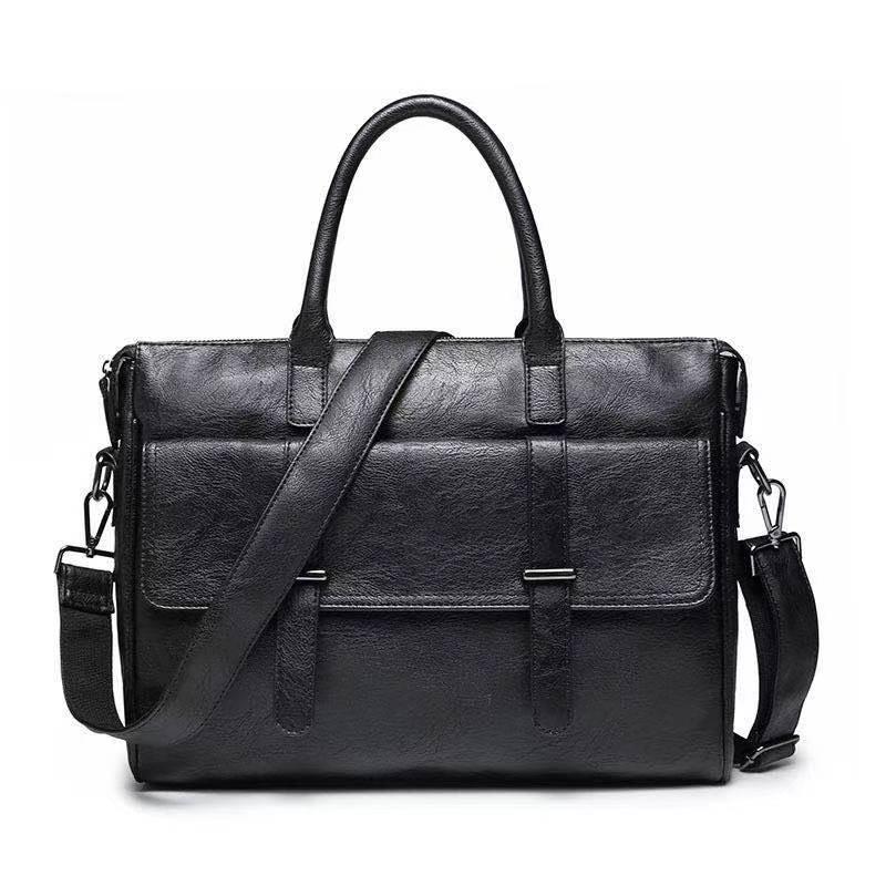 2020 Men Leather Black Briefcase Business Handbag Messenger Bags Male Vintage Shoulder Bag Men's Large Laptop Travel Bags