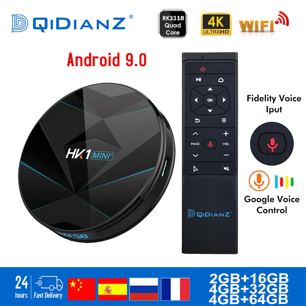 HK1MINI+ Android 9.0 Smart TV BOX RK3318 Google Assistant TV Receiver 4K Wifi Media Player Play Store Free App Fast Set Top BOX