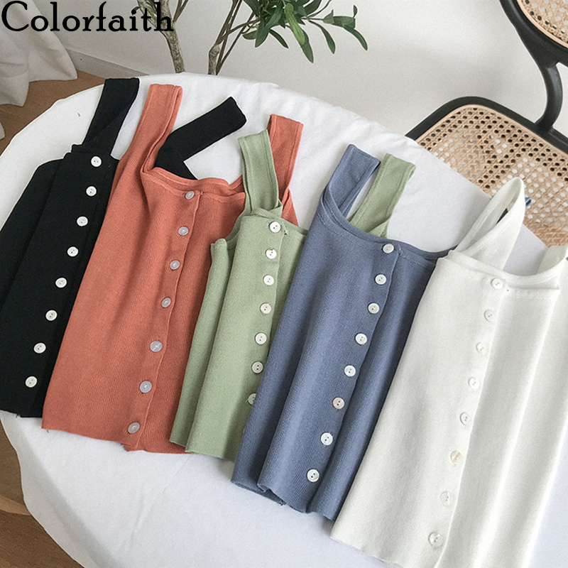 Colorfaith New 2020 Spring Summer Women Tops Solid Multi Colors Tank Basic Knitting Bottoming Vest Single Breasted Tops V6224