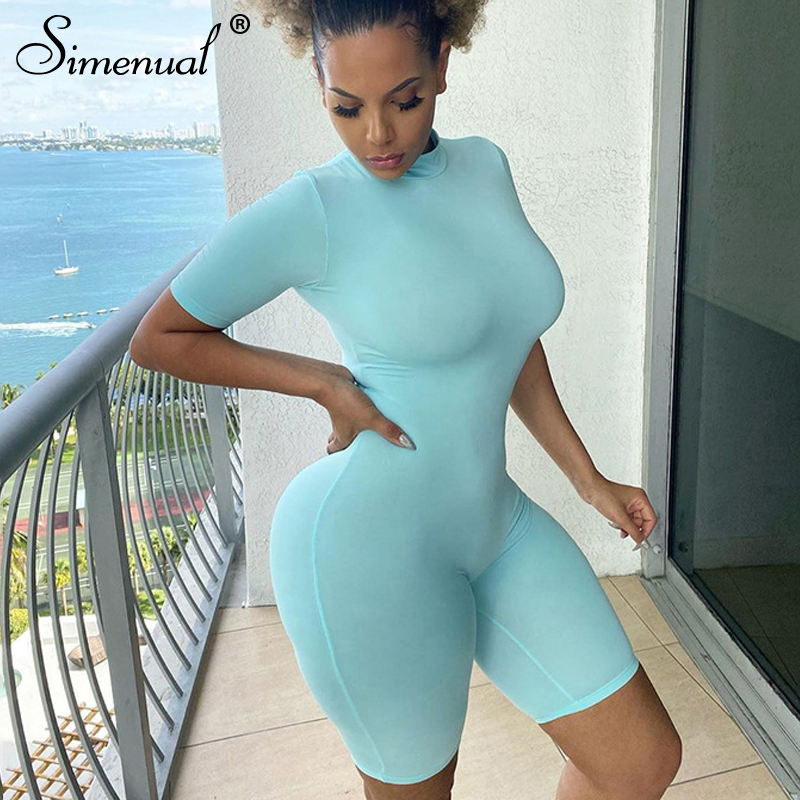 Simenual Solid Skinny Bodycon Rompers Women Casual Short Sleeve Biker Shorts Playsuit Sporty Workout Active Wear Slim Playsuits