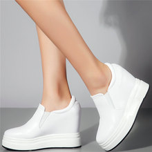 Low Top Fashion Sneakers Women Genuine Leather Wedges High Heel Ankle Boots Female Round Toe Platform Pumps Shoes Casual Shoes