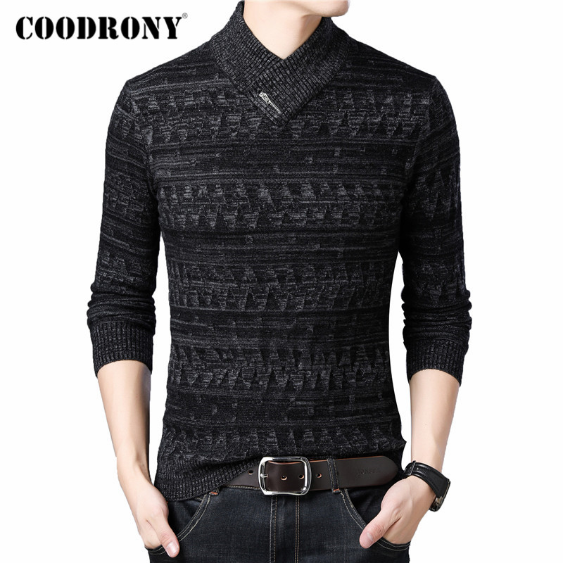 COODRONY Brand Turtleneck Sweater Men Fashion Casual Pull Homme 2019 Winter Thick Warm Sweaters Knitwear Wool Pullover Men C1016