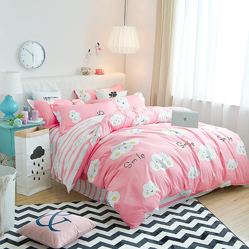 Thumbedding Cartoon Cloud Bedding Set Stripes Sweet Lovely Pink Duvet Cover Single King Queen Full Twin Unique Design Bed Set